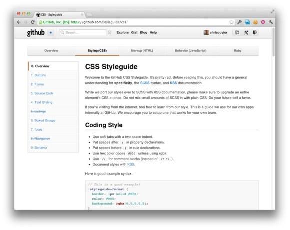 Screenshot de la guía de estilo de GitHub